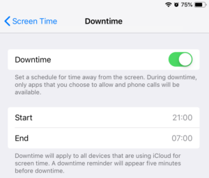 Screen Time Downtime options