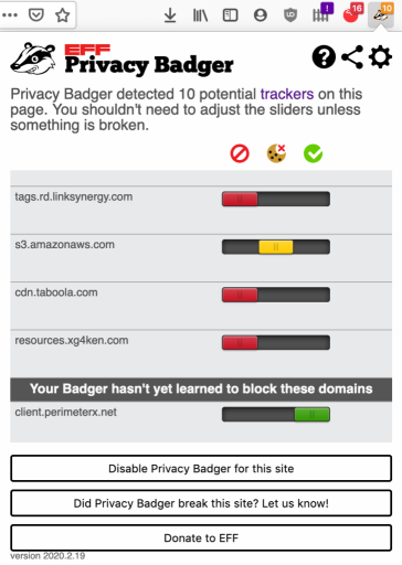 Privacy Badger controls