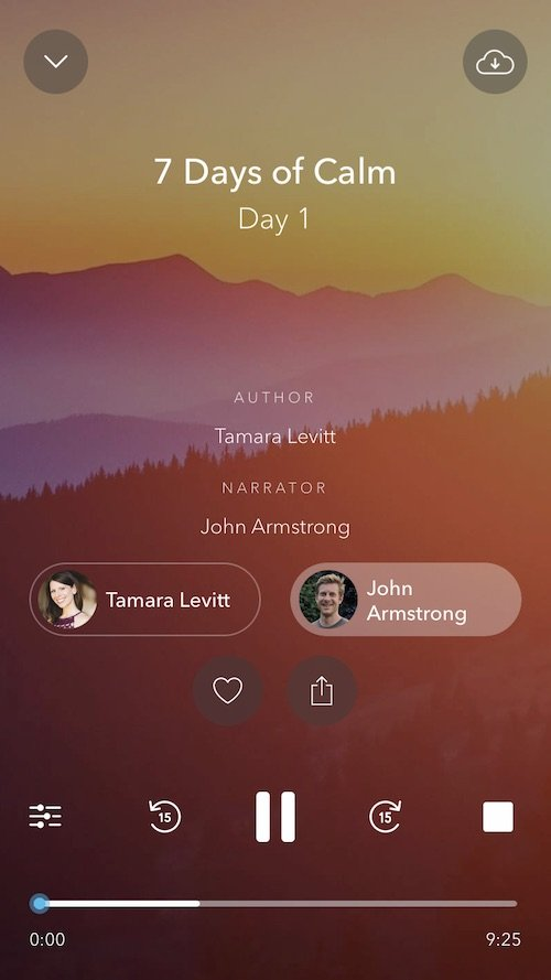 """""""7 Days of Calm"""" Day 1 playing. This introductory course is written by Tamara Levitt and you can choose to have it read by Levitt or alternatively John Armstrong."""