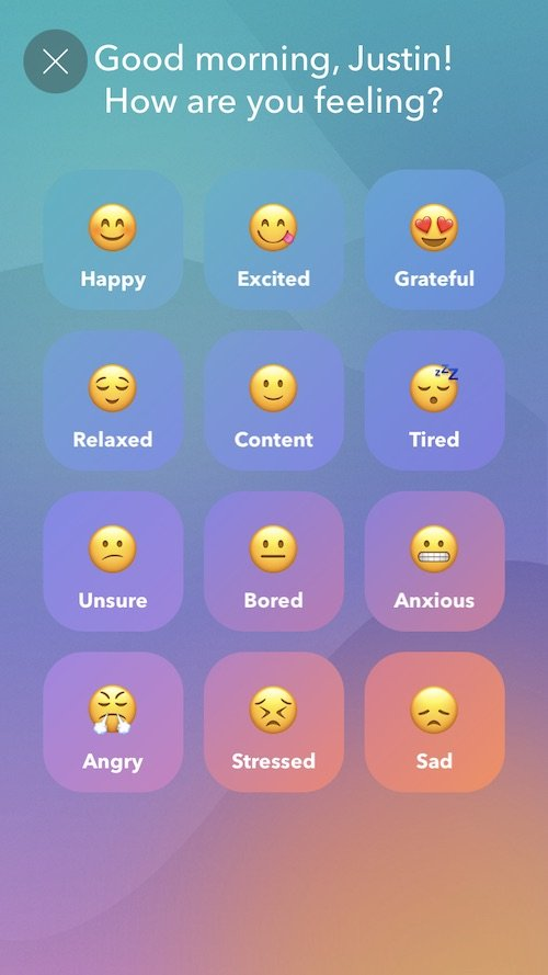 The mood checkin allows you to record how you are feeling: Happy, Excited, Grateful, Relaxed, Content, Tired, Unsure, Bored, Anxious, Angry, Stressed, or Sad.