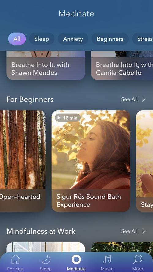 Calm Meditations screen. Many categories include Sleep, Anxiety, Beginners, Stress, Work, etc