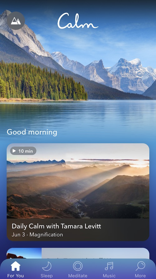 The Welcome screen in Calm shows The Daily Calm and other suggestion content